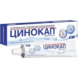 Цинокап по цене от 402,00 рублей, купить в аптеках Сочи, крем д/наружн. прим. 0.2% г №1 Пиритион цинк