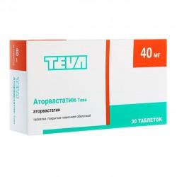 Аторвастатин-Тева по цене от 564,00 рублей, купить в аптеках Сочи, табл. п/о пленочной 40 мг №30 Аторвастатин